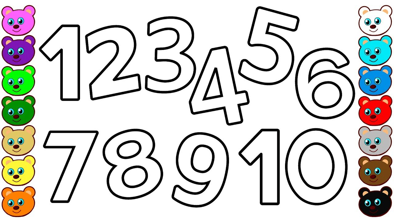 Numbers 1 to 10 for Kids - Coloring Pages for Toddlers ... | number coloring pages for toddlers