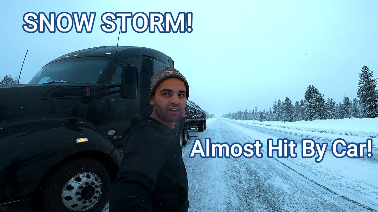 Driving Through A Snow Storm! I Almost Got Killed By A Car!