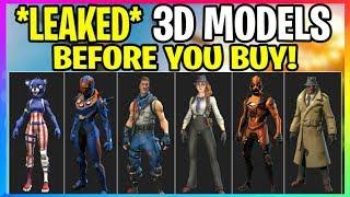 Fortnite : LEAKED 3D SKINS ' BEFORE YOU BUY' In Game Model! (Fortnite Battle Royale)