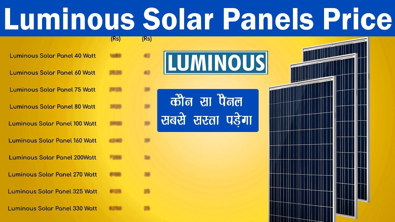Luminous Solar Panels Price And Connections Youtube