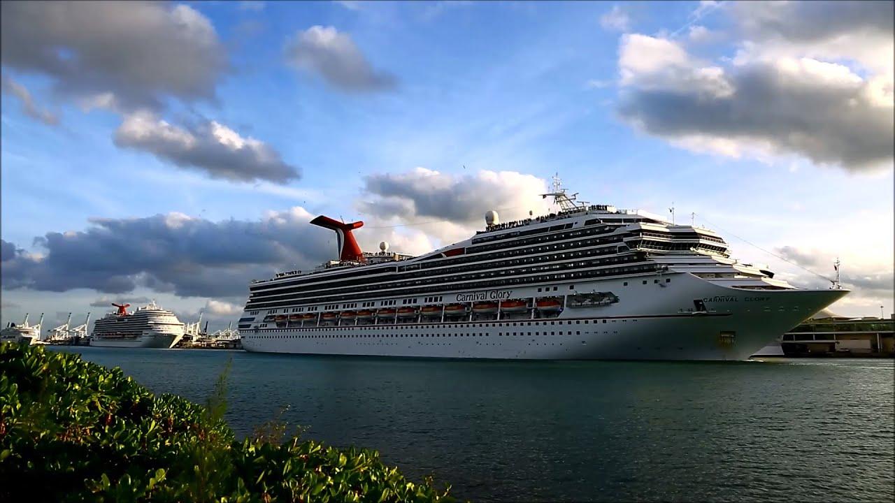 CARNIVAL GLORY Cruise Ship Leaving Miami  YouTube