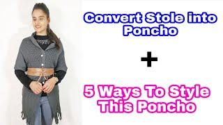 2 Min DIY प र न Stole स बन य Smart Poncho Winter fashion Winter wear Fashion Hack Stole Convert
