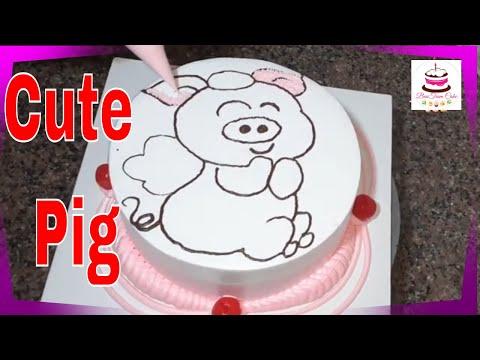 Bánh kem vẽ con Heo dễ thương│How to make a cute Pig cake   Foci