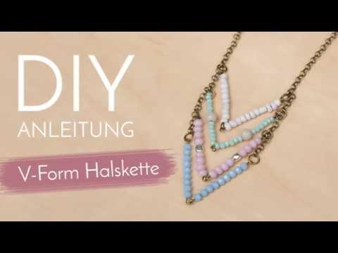 Schmuck machen mit Perlenladen Online - V-Form Halskette