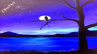 moon sky night easy painting stars acrylic beginners paintingvalley clive5art