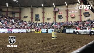 Tiany Schuster of Krum, Texas posted a 14.17-second Barrel Race Run at the 2017 San Angelo Rodeo