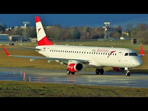 [FullHD] Austrian Embraer 195LR takeoff at Geneva/GVA/LSGG
