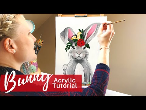 PAINTING TUTORIAL Easter Bunny in 30-minutes | Art Therapy thumbnail