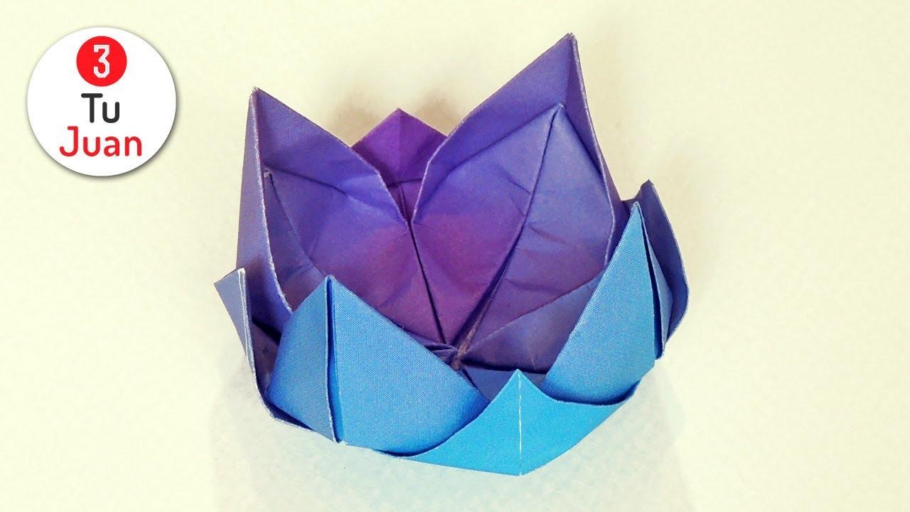 Cómo Hacer Una Flor De Papel Rápido Y Fácil Flor De Loto Origami Diy Youtube