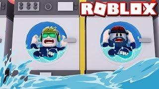 WE ARE INSIDE WASHING MACHINE HELP!!! ROBLOX LAUNDRY SIMULATOR
