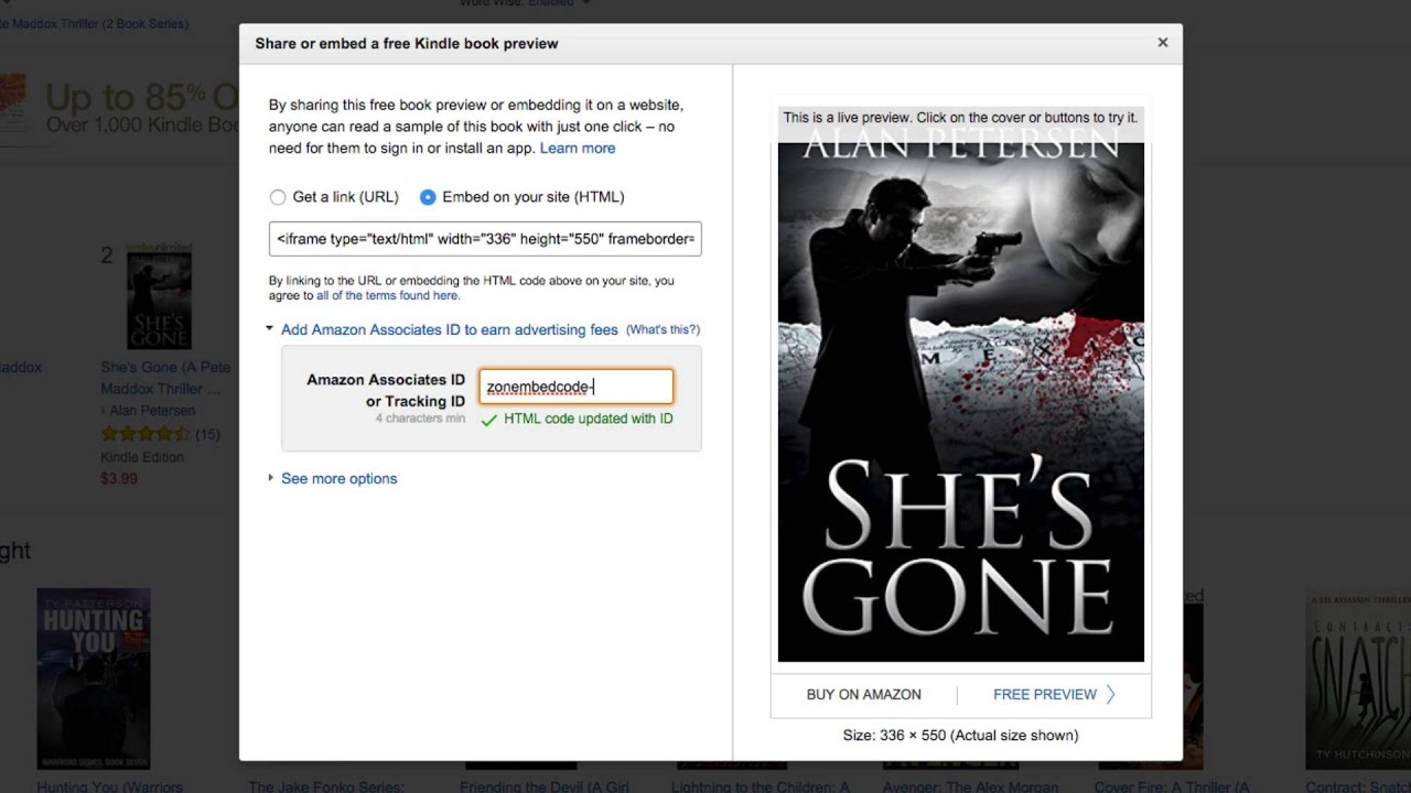 Embed amazon preview of your book