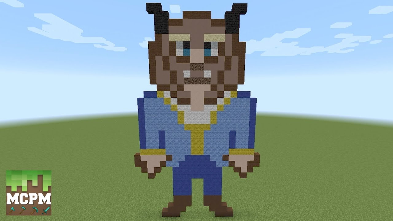 How To Build Beast From Beauty And The Beast Movie Pixel Art In Minecraft