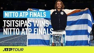Stefanos Tsitsipas verslaat Thiem tijdens ATP Finals. Bekijk het matchpoint.