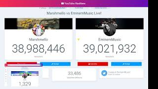EminemMusic vs Marshmellow to 39m live sub count
