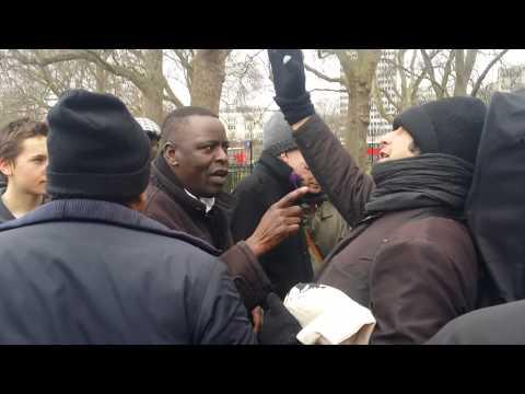 Egyptian Muslim Bites Man of God - Speakers Corner Hyde Park London 22-2-15.