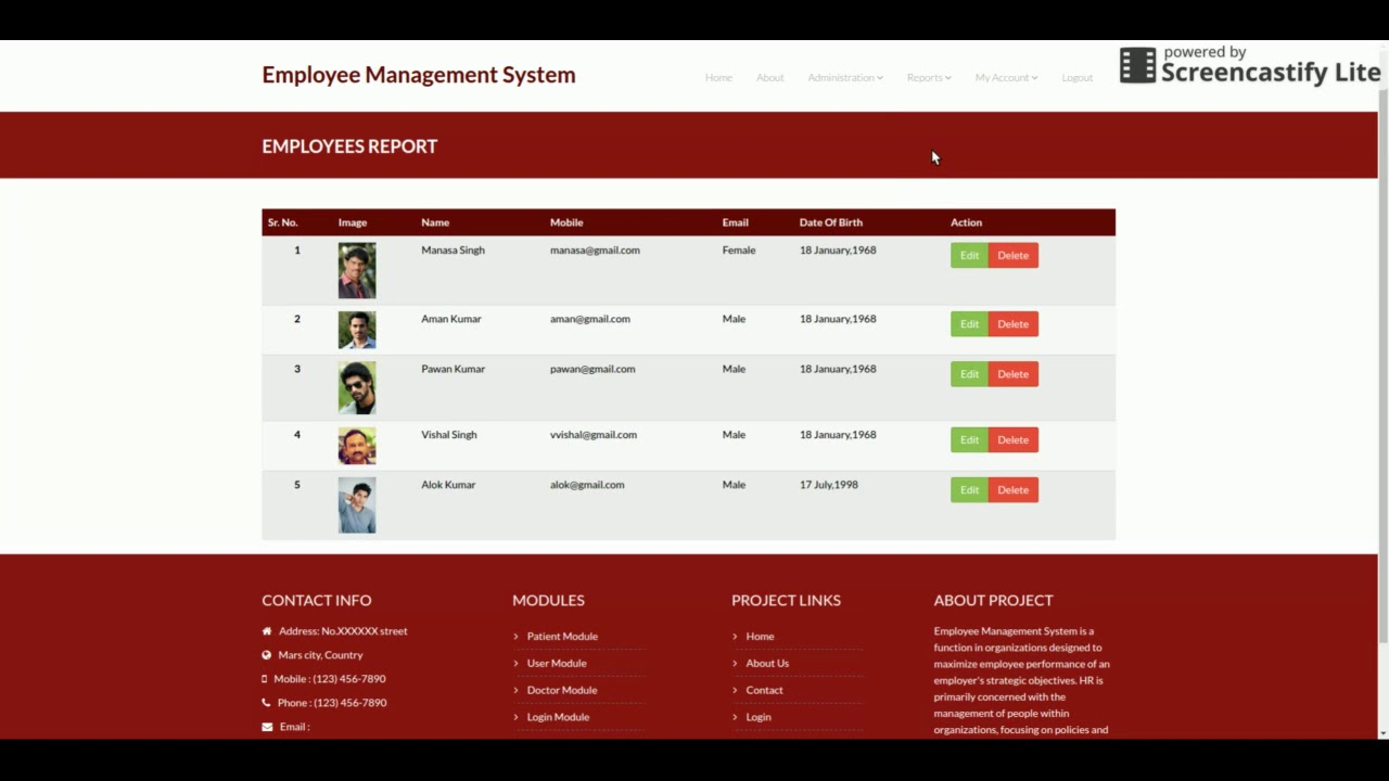Python, Django and MySQL Project on Employee Management System