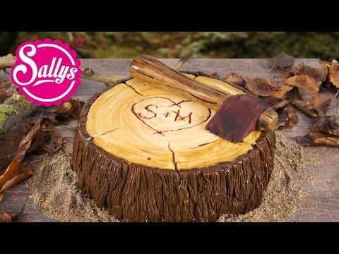 Motivtorte Baumstamm Holzfäller Axt Torte / Fondanttorte / Sallys Welt