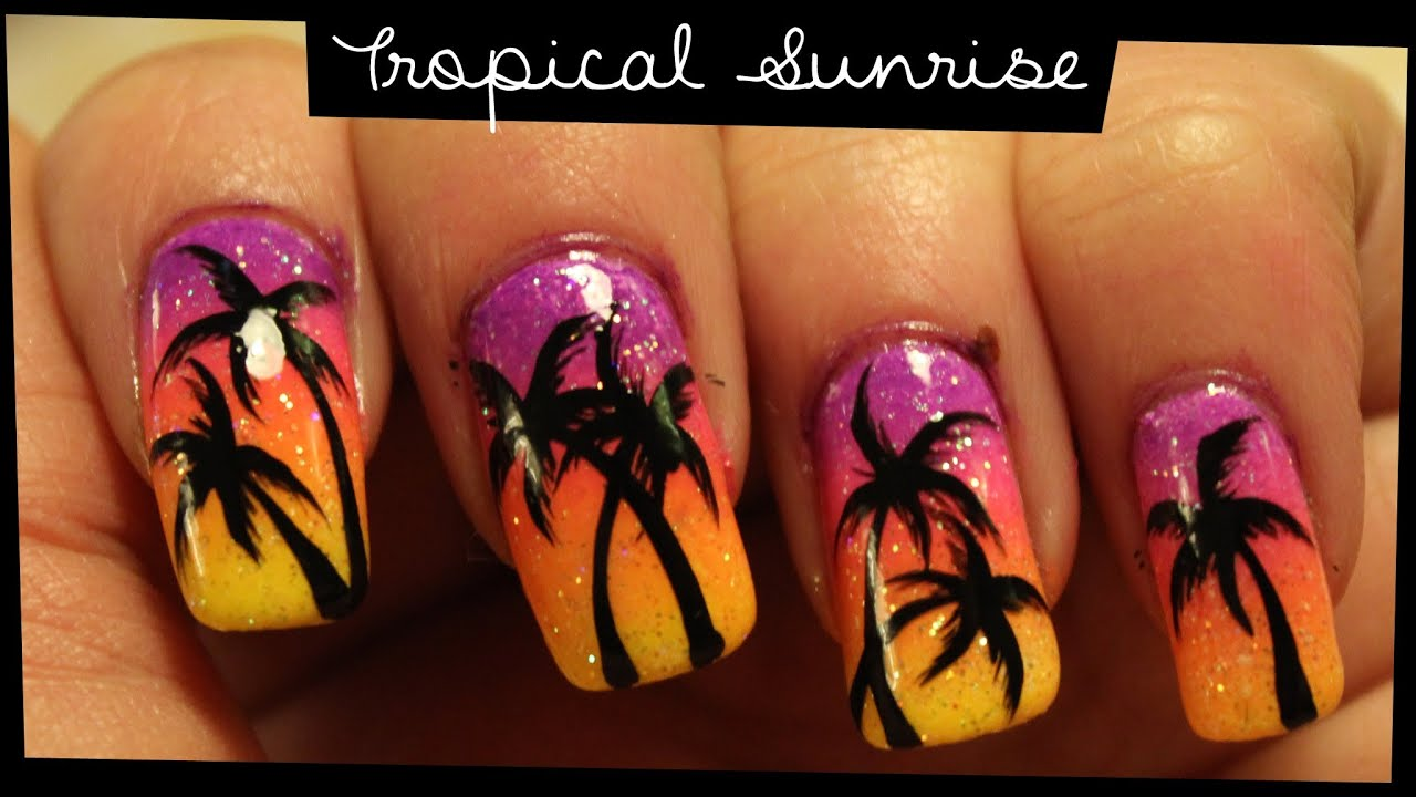 Art Designs: Tropical Sunrise Nail Art
