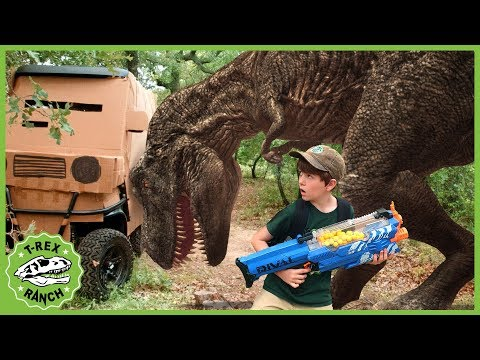 Dinosaur Box Fort Challenge & Escape! Giant T-Rex Dinosaurs for Kids Adventure with Nerf Toys