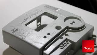 Laser Marking and Coding on ABS + PC Cover for the electronic market with fiber laser