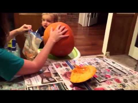 Evan helping cleaning out the pumpkin guts. Halloween eve 2015.