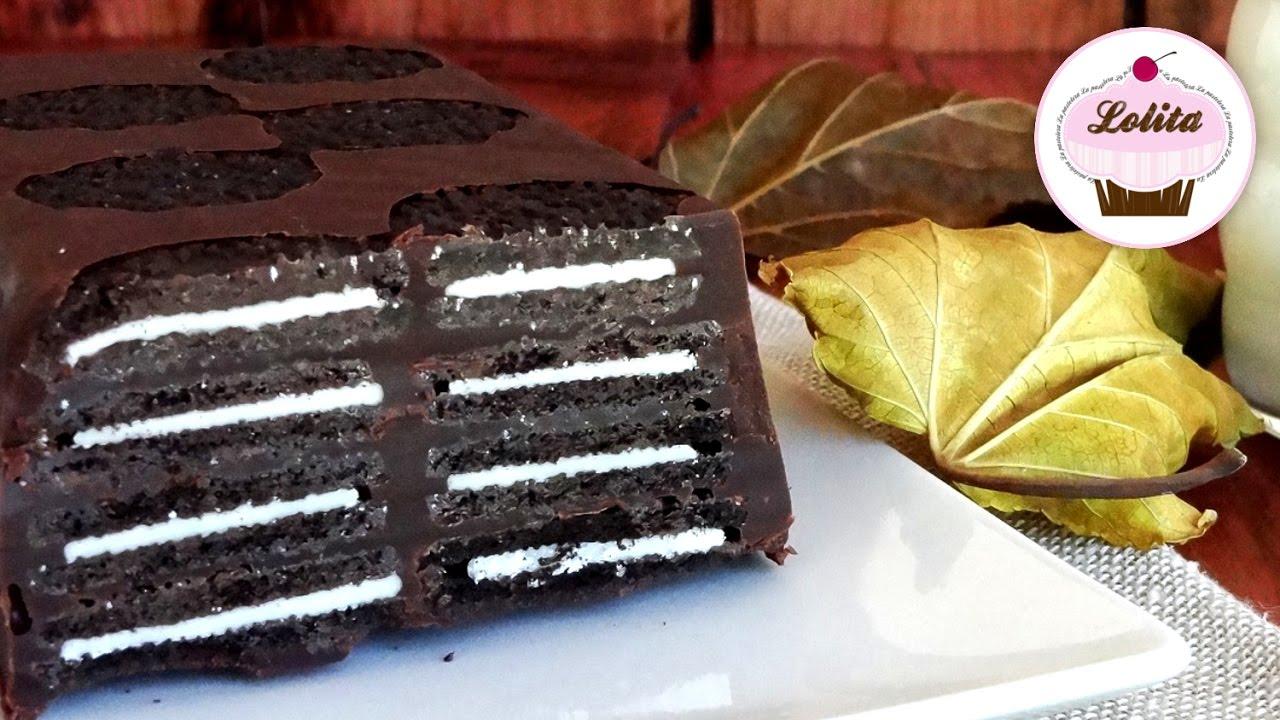 Receta de tarta de galletas Oreo con chocolate sin horno| Kalter hund de Oreo