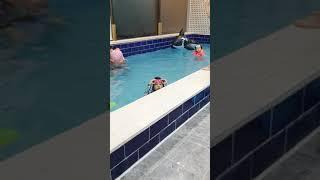 풀빌라 수영장에서 잠수하는 민지 - 강원도 횡성 할로우…