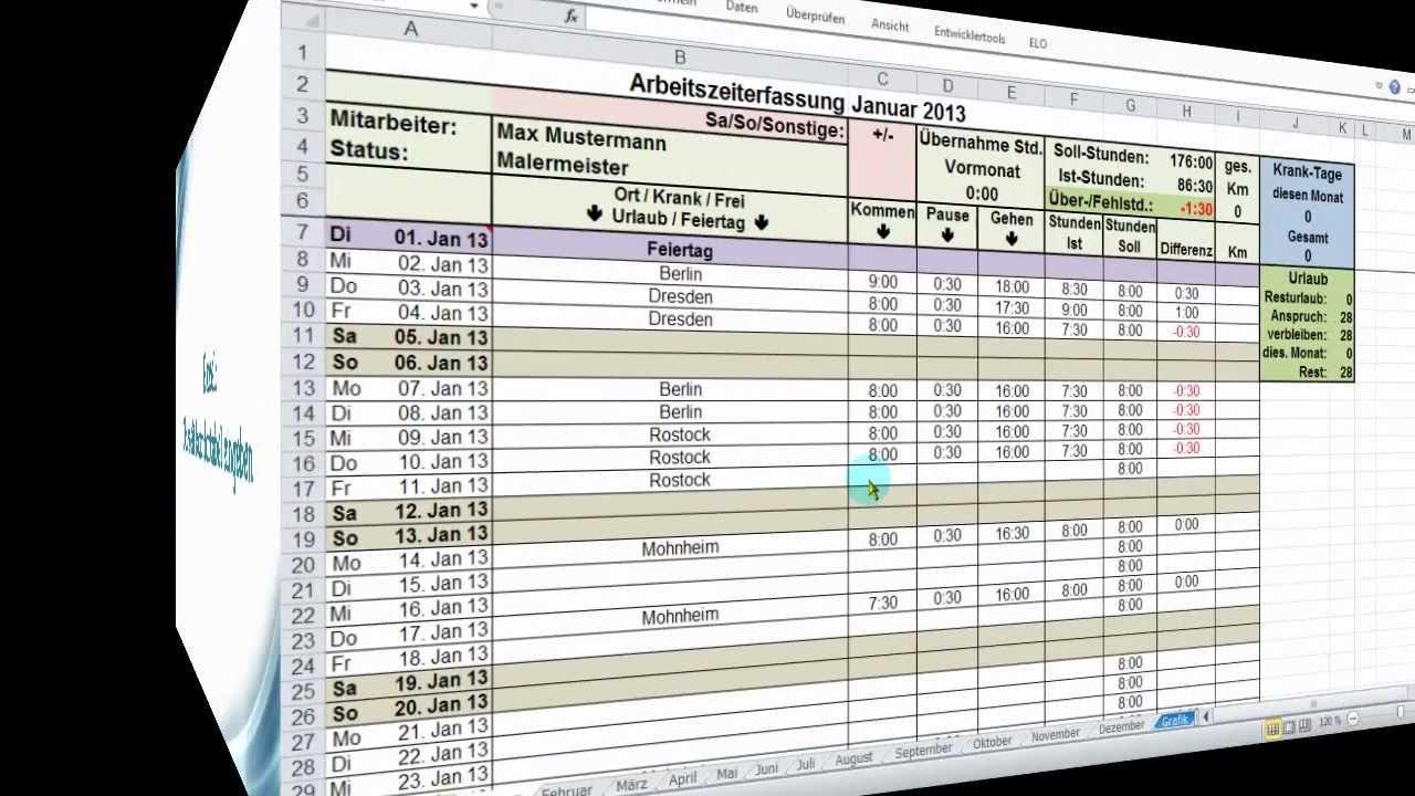 Excel Zeiterfassung: Uhrzeit komfortabel eingeben - YouTube