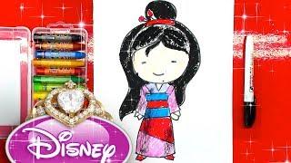 Как нарисовать МУЛАН принцессу Диснея для девочек