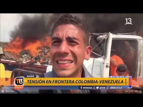 Queman camiones con ayuda humanitaria para Venezuela