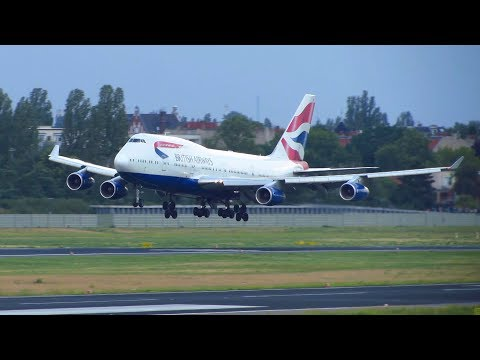 RARE! British Airways Boeing 747-400 [G-CIVB] Landing at Berlin Tegel Airport (TXL) [Full HD]