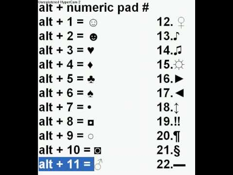 Alt Num Pad Symbols Youtube