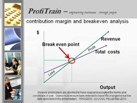 contribution margin and breakeven analysis It all starts with the concept of break-even analysis  i've diagrammed it below,  using the term contribution margin to replace the term what's.