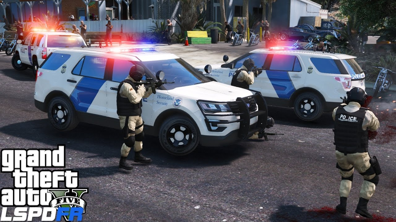 GTA 5 LSPDFR Police Mod 405 | Department Of Homeland Security Swat Team Vs  The Lost | Gang Takedown