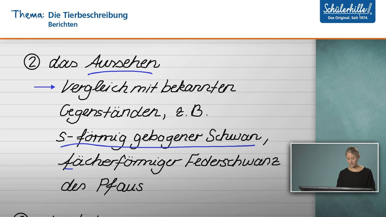 die tierbeschreibung berichten deutsch schlerhilfe lernvideo - Muster Tierbeschreibung