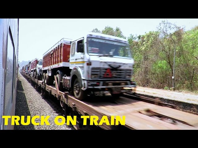 ONE OF THE UNIQUE FREIGHT TRAIN OF INDIA ! RO - RO / TRUCK ON TRAIN
