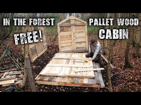 Off Grid Pallet Wood Cabin Build in the Forest for Free - Wood Floor, Wall & Frame Structure