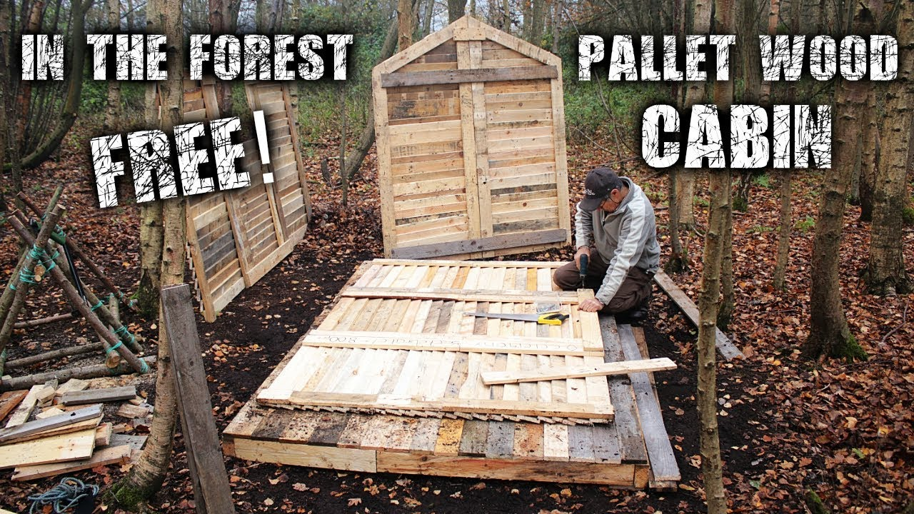 Off grid pallet wood cabin build in the forest for free for How to build a cabin floor