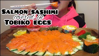 ASMR SALMON SASHIMI covered in TOBIKO EGGS (Satisfying Eating Sounds)