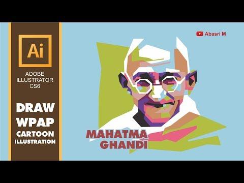 Adobe Illustrator - Draw Mahatma Gandhi Portrait in WPAP Tutorial Vector Cartoon Illustration Style thumbnail