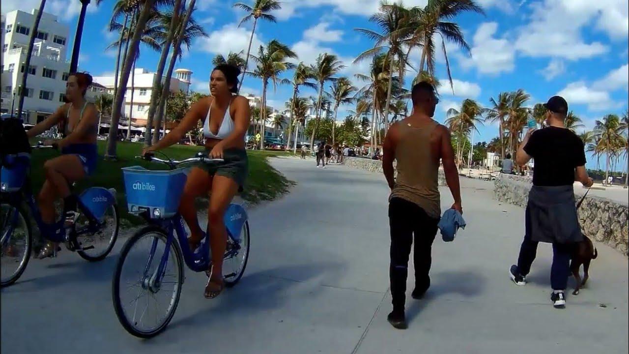 Biking on Beautiful South Beach Walk Best Running Walking Path on