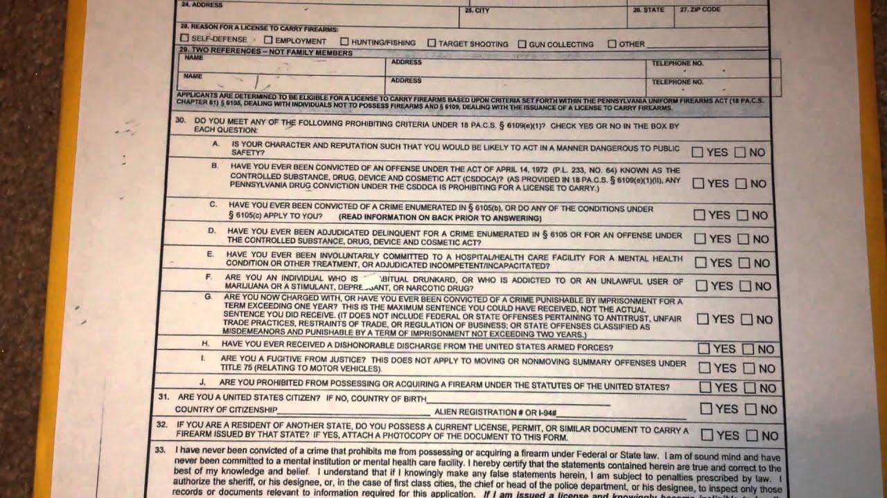 Applying For My Concealed Carry Permit In PA - YouTube