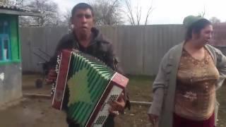Цыган играет на баяне и поет