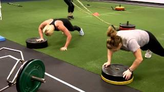 hot and extremely tough female rugby players working out