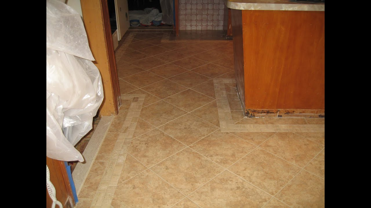 Tile kitchen floor with border - YouTube