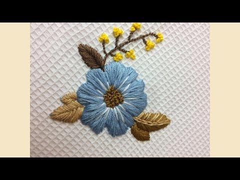 Вышивка для начинающих цветок гладью