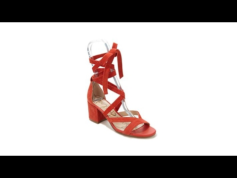 106fb29a4f2 Sam Edelman Sheri Suede Laced BlockHeel Sandal - YouTube