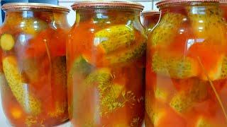 Хрустящие маринованные огурцы с кетчупом Чили. Консервация на зиму.