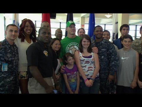 John Cena and Alicia Fox visit wounded warriors at Walter