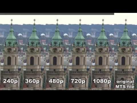 Comparison of quality settings on Youtube  - 240p, 360p, 480p, 720p, 1080p + original MTS file